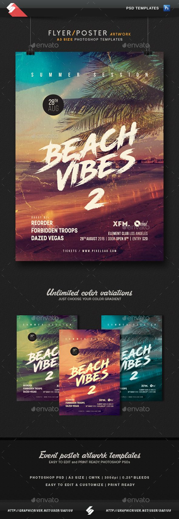 beach vibes 2 summer party flyer poster template a3 party