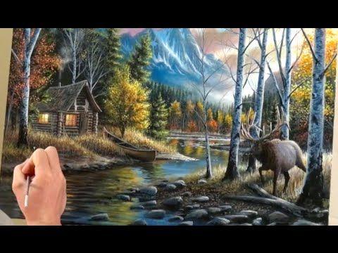 Acrylic Landscape Painting Time Lapse Art Painting Timelapse Art Mountains Cabin E Landscape Paintings Acrylic Landscape Paintings Oil Painting Frames