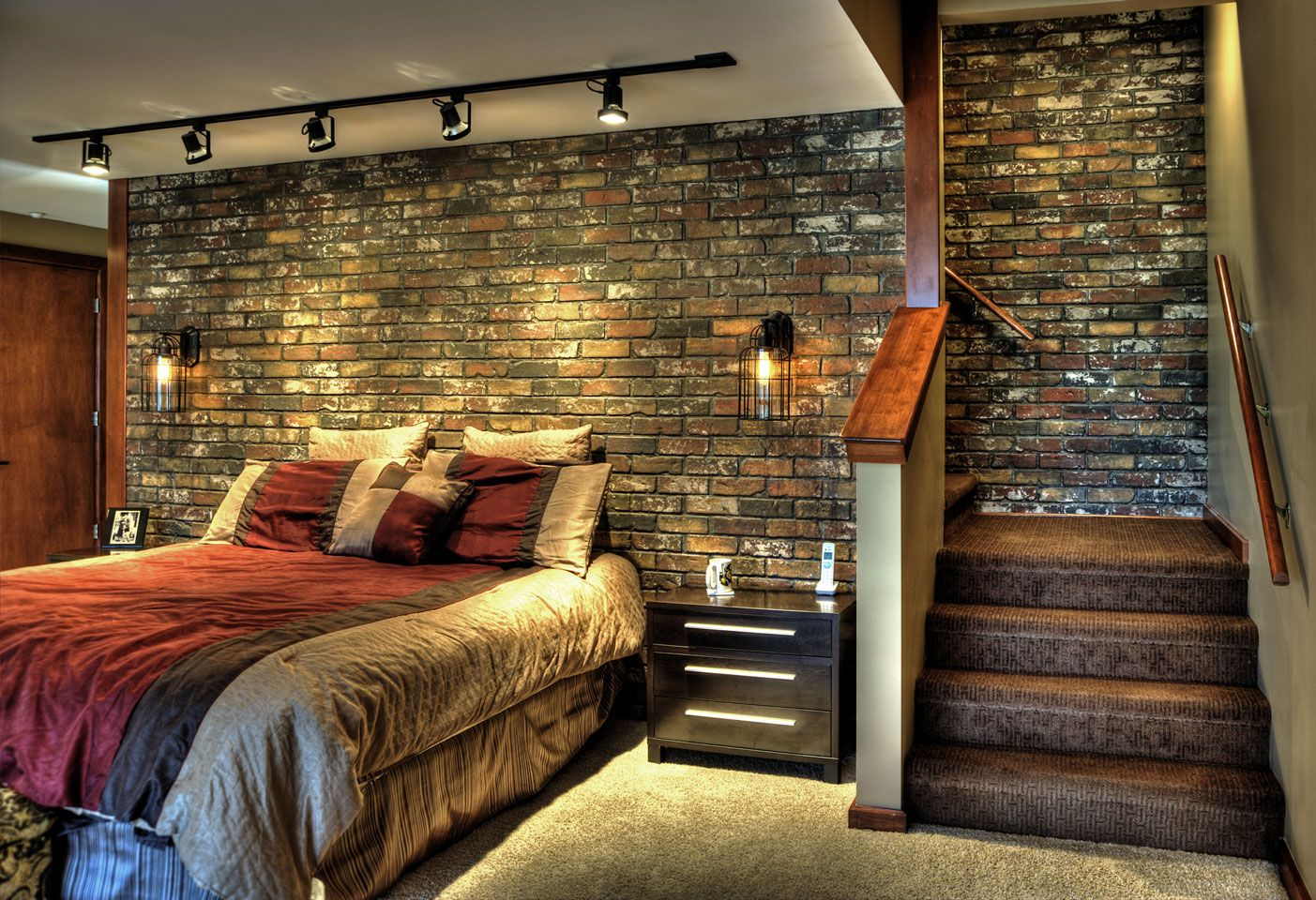 Love the used faux brick panels perfect for a basement for Interior brick wall designs