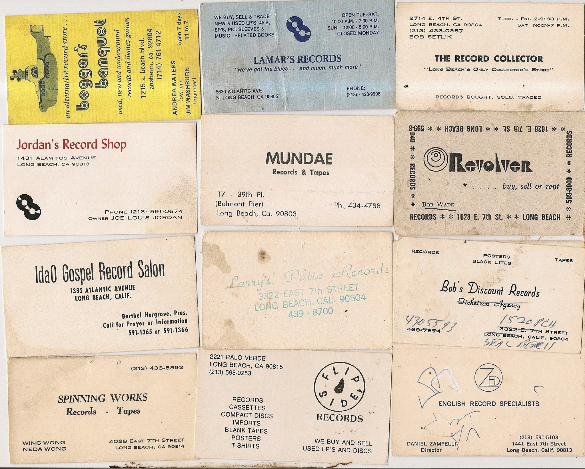 business cards from old long beach record stores