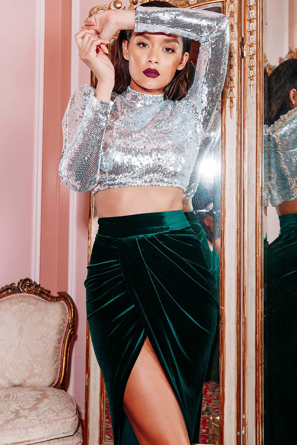 cb93c07e04c8b Love the idea of a velvet mermaid skirt and sequined crop top for both desi  and non-desi parties (good crossover pieces)