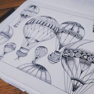hot air balloon drawing  Google Search  INK  Pinterest