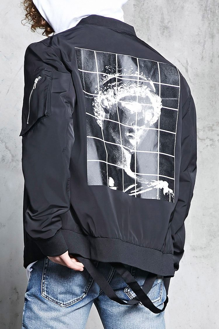 A Woven Bomber Jacket Featuring A Back Graphic Of A Greek Statue And Stylized Grid Lines Removable Utility Strap Mens Pants Fashion Bomber Jacket Mens Outfits [ 1125 x 750 Pixel ]