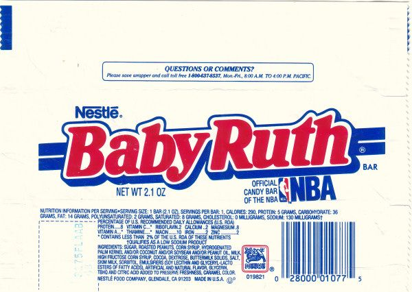 1988 Baby Ruth Candy Wrapper   Baby ruth, Vintage candy ...