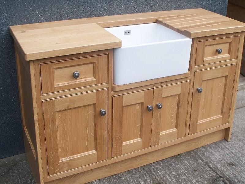 Oak belfast sink base free standing kitchen cabinets for Basic kitchen base units