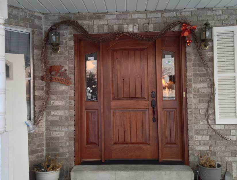 Rustic home exterior wood front door with side windows for Entry door with side windows