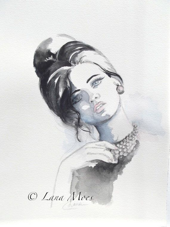 Fine Art Print Signed by Artist from Original Watercolor Hollywood Vintage Glamour Illustration by Lana Moes by LanasArt on Etsy https://www.etsy.com/listing/115390543/fine-art-print-signed-by-artist-from