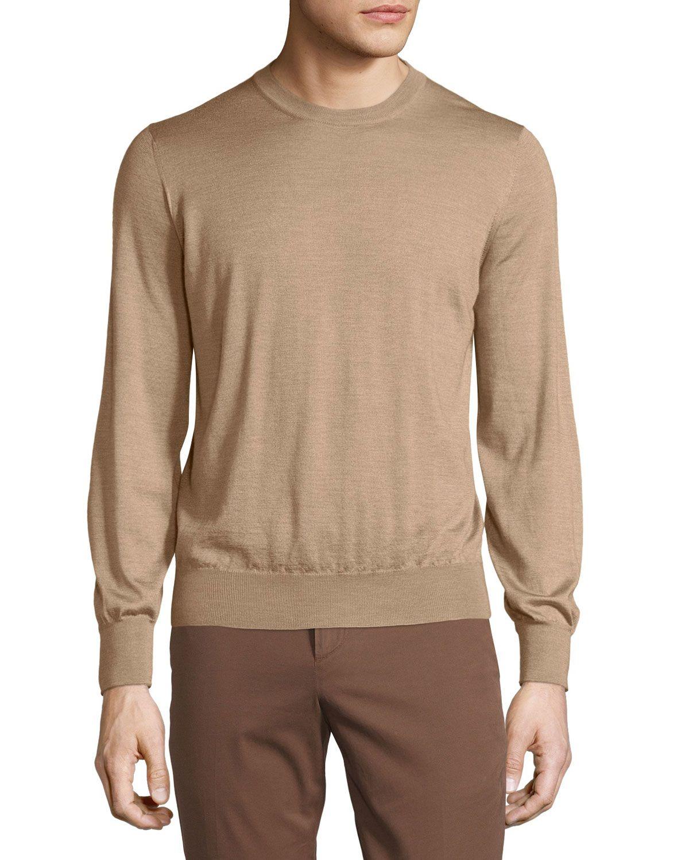 Brunello Cucinelli Long-Sleeve Cashmere Blend Sweater, Camel Beige, Men's, Size: US42/EU52, Camel Beig