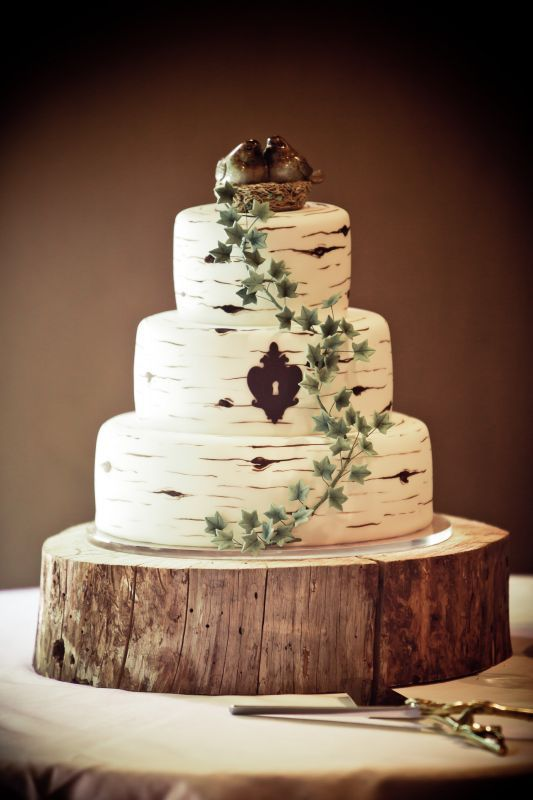 Secret Lock Wedding Cake On Wooden Stand