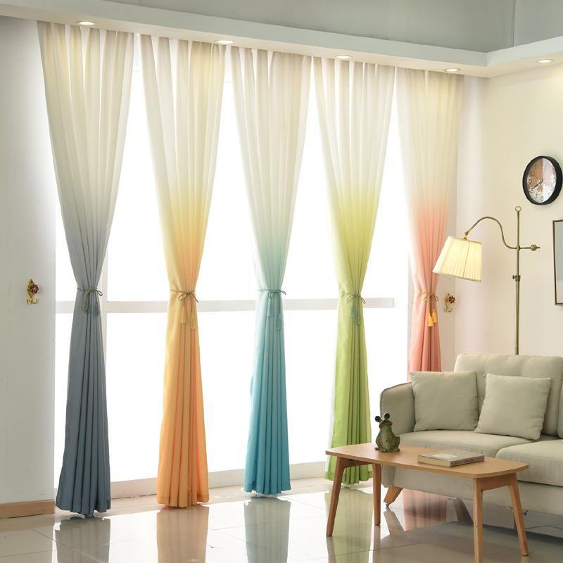 Gradient Color Blackout Curtains For Living Room Bedroom Kitchen