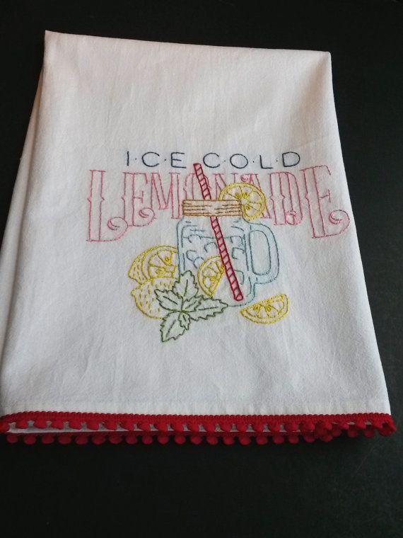 Lemonade Tea Towel Hand Embroidered Tea Towel By Hooksandroses