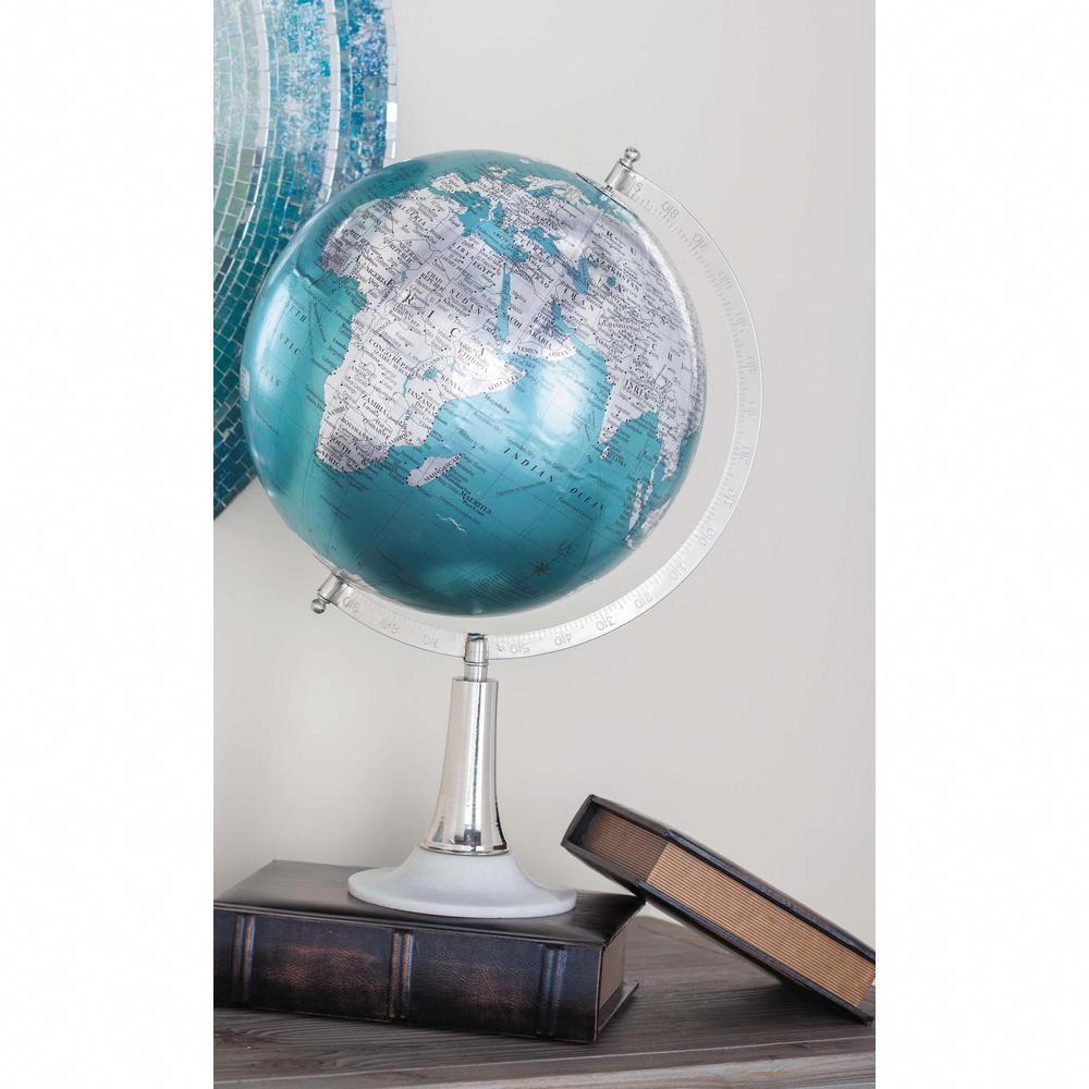 Litton Lane 20 In X 13 In Modern Decorative Globe In Cyan And Silver Multi Decoratingideas Globe Decor Globe Cyan