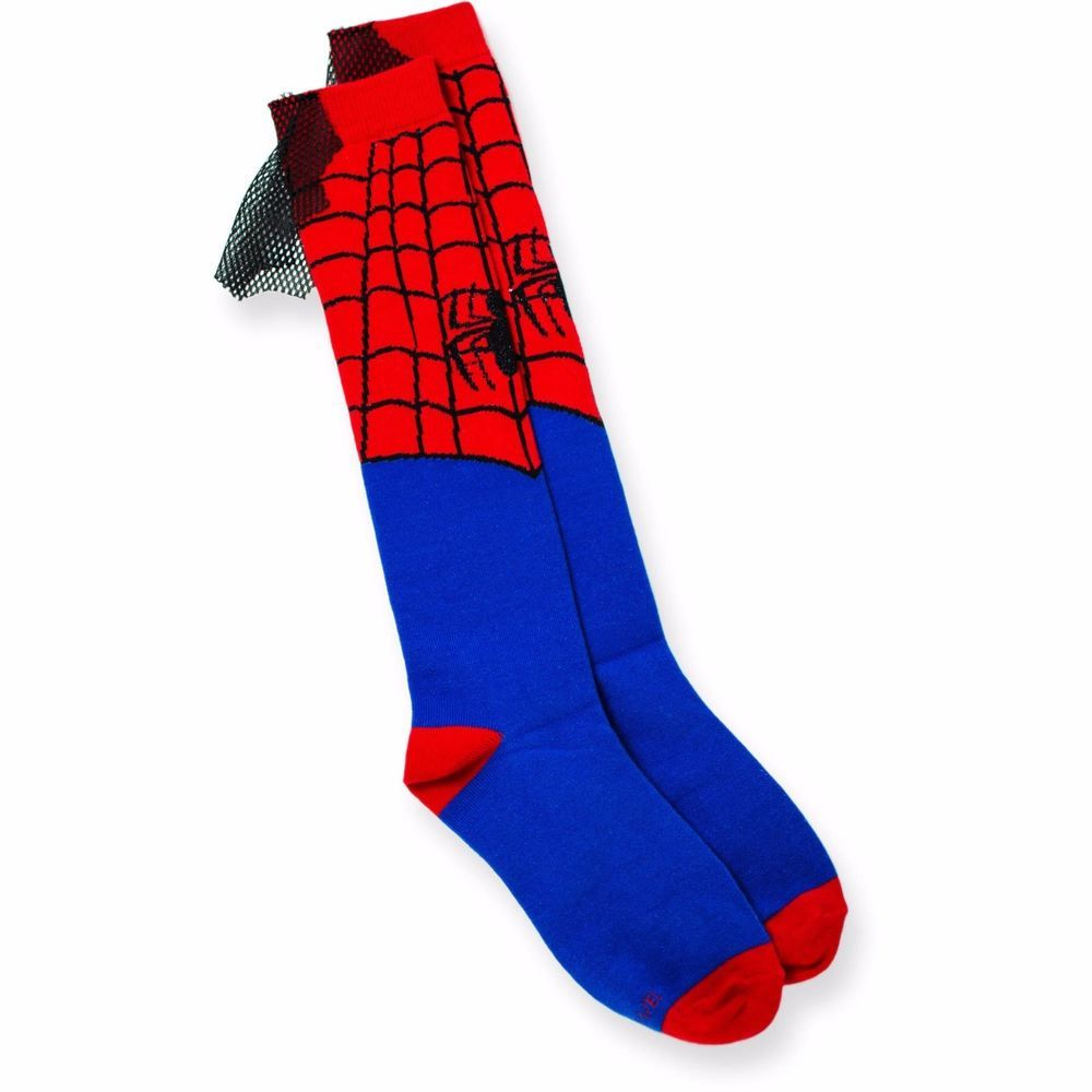 2053ec721b0 Marvel Superhero Spiderman Cape Socks KNEE HIGH   Knee socks NEW 9-11 shoe  4-10  Marvel  KneeHigh