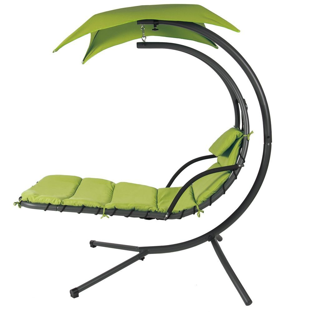 Hanging Hammock Lounge Chair White Eames Replica Swing Chaise Lounger With Stand Canopy Lime Green