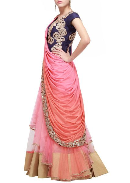 1db488fb9c8 This saree gown is made in gorgette satin fabric. Blouse of this saree gown  is made in blue color raw silk fabric having dabka and sequin hand  embroidery.