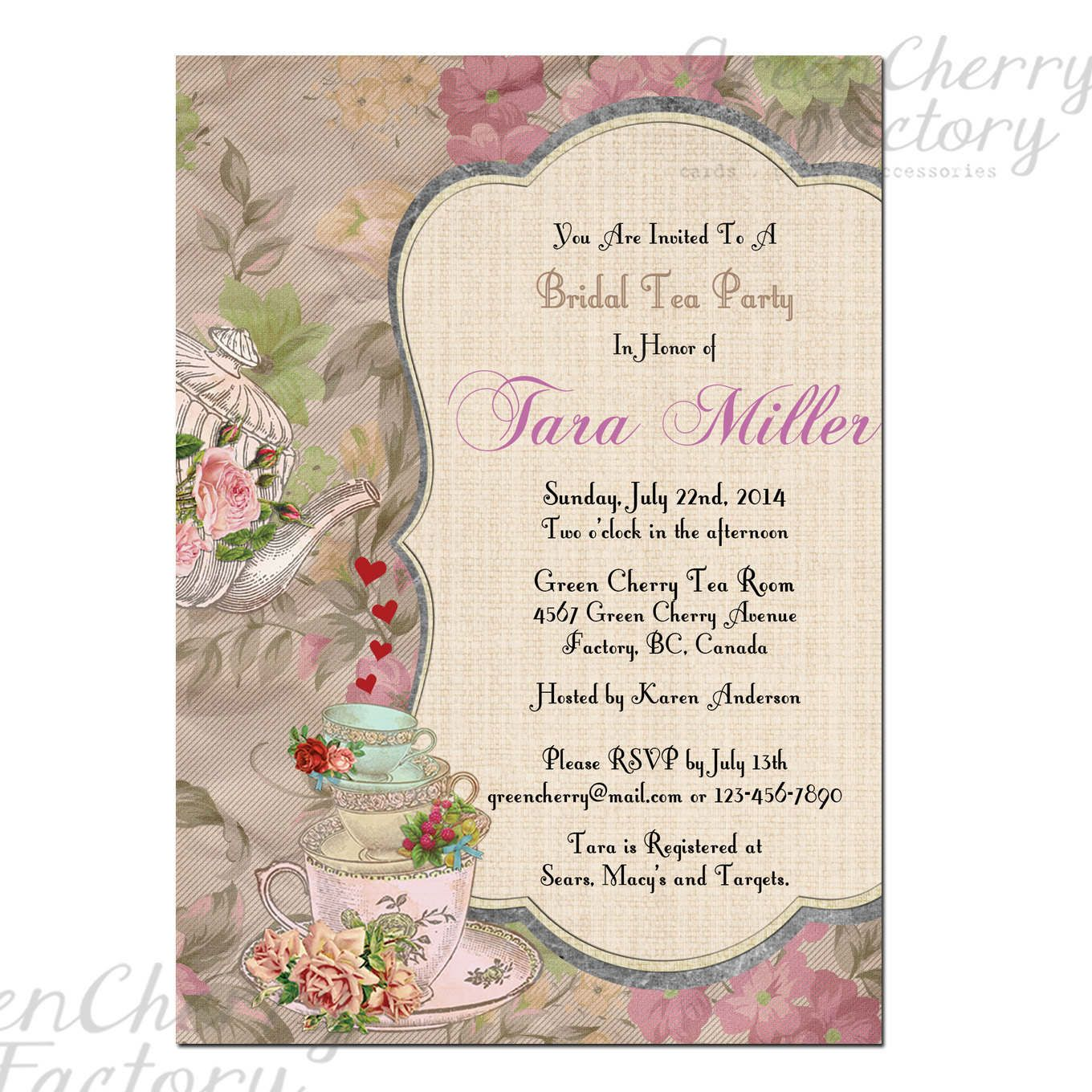 Kitchen Tea Invitation Or High Tea Invitation Printable Pink Spots