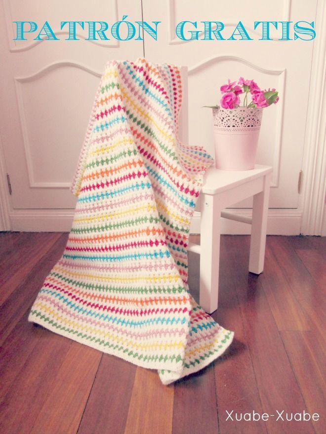 Patrón Mantita de bebé en Punto Diamante a crochet. | Mantas ...