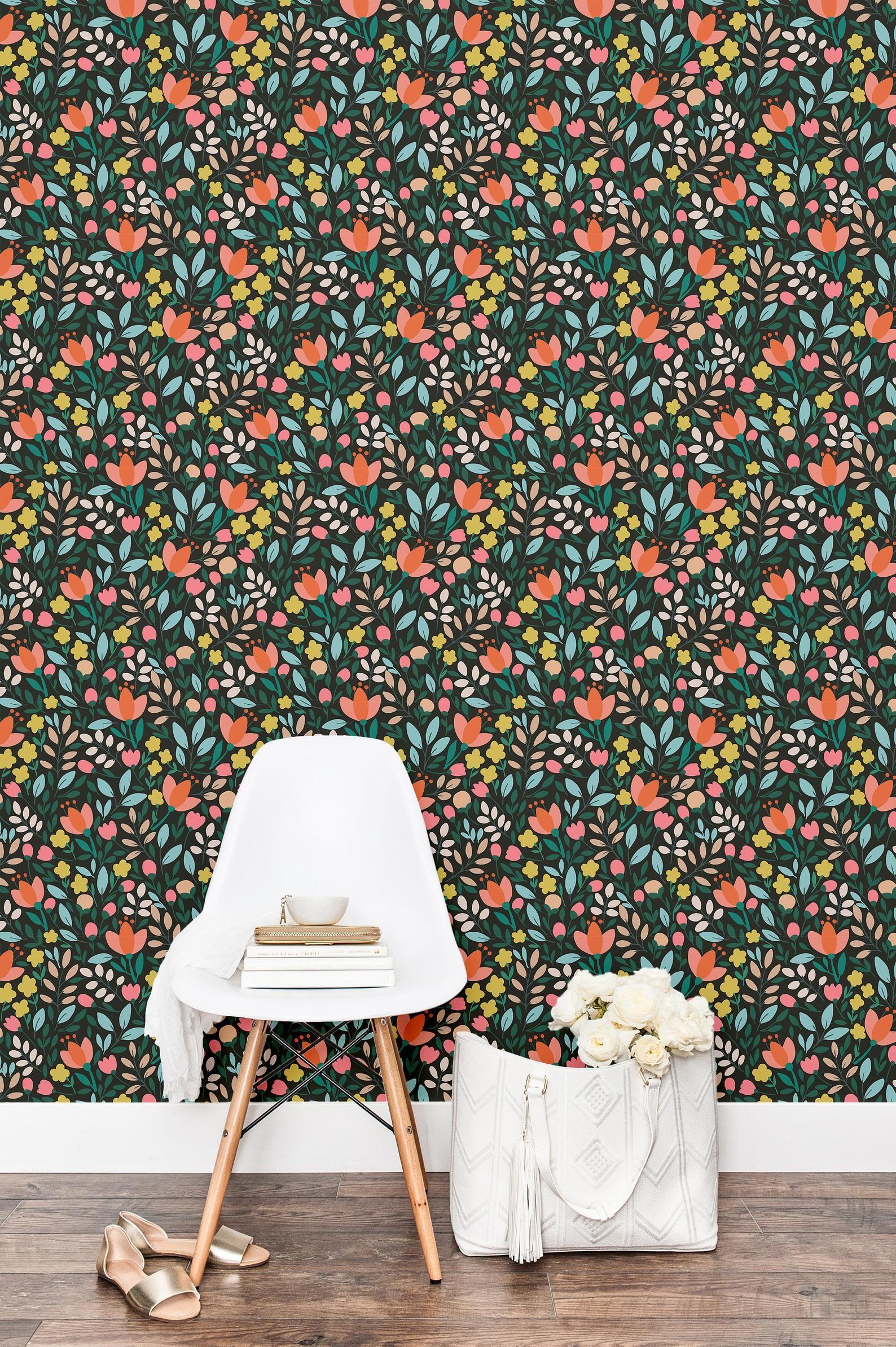Removable Vintage Floral Wallpaper Floral Self Adhesive Etsy In 2020 Vintage Floral Wallpapers Floral Wallpaper Self Adhesive Wallpaper