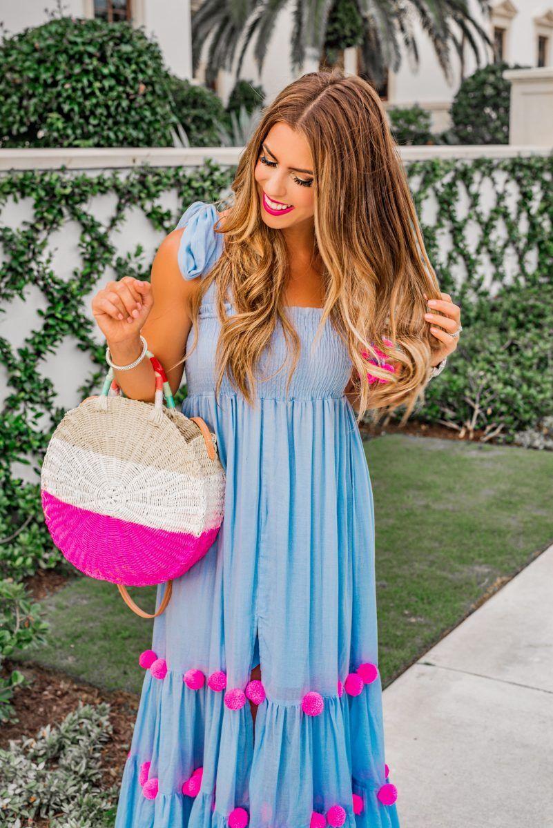 ba688a89dd pom pom maxi in palm beach sundress pippa dress blue maxi dress the best  dresses for summer wedding spring wedding dress pom pom maxi dress hot pink  beach ...