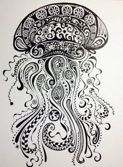 Abstract Jellyfish Ink And Pen Drawing Original By