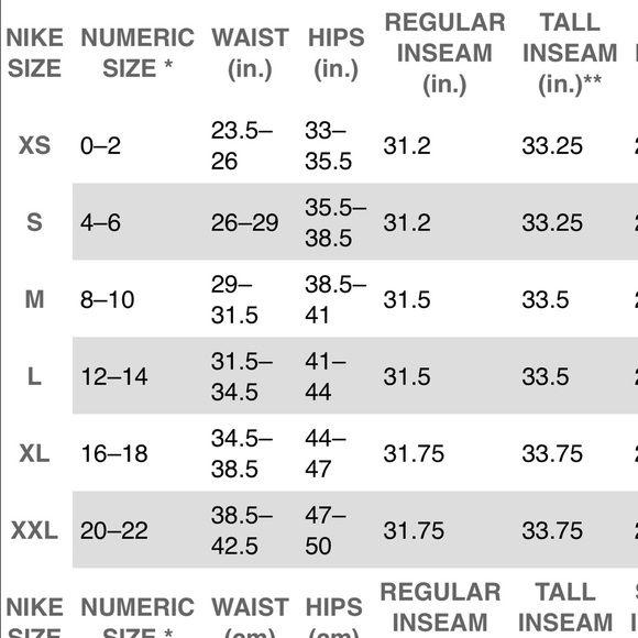 Nike Pant Size Chart Top Women S And Bottoms Pants Leggings