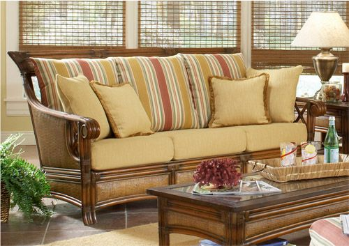 Pacifica Living Room Set 5 Pc Model 4300 Set With Choice Of Cushions Made In The Usa American Rattan Tropical Style Pacifica Living Room Set Wicker Decor Wicker Living Room