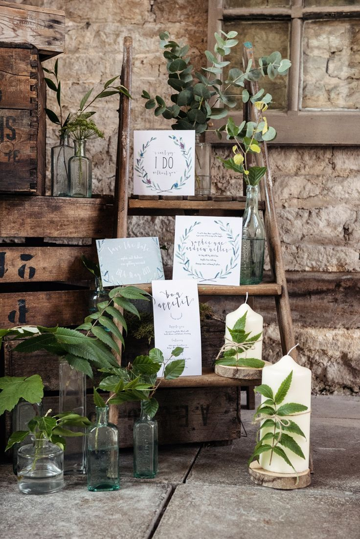 Ladder Decor Candles Organic Foliage Rustic Wedding Ideas Sarahvivienne