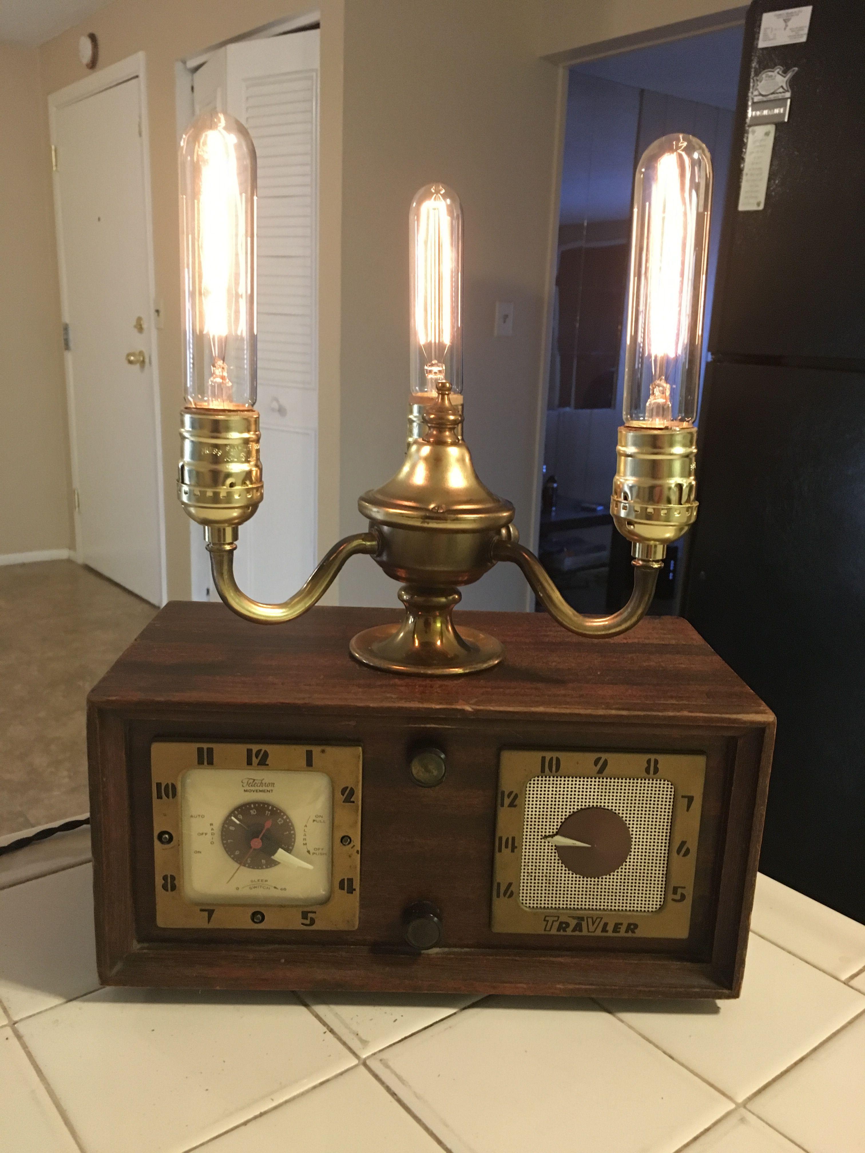 Vintage Radio Lamp With Edison Bulb Lamp Edison Bulb Table Lamp