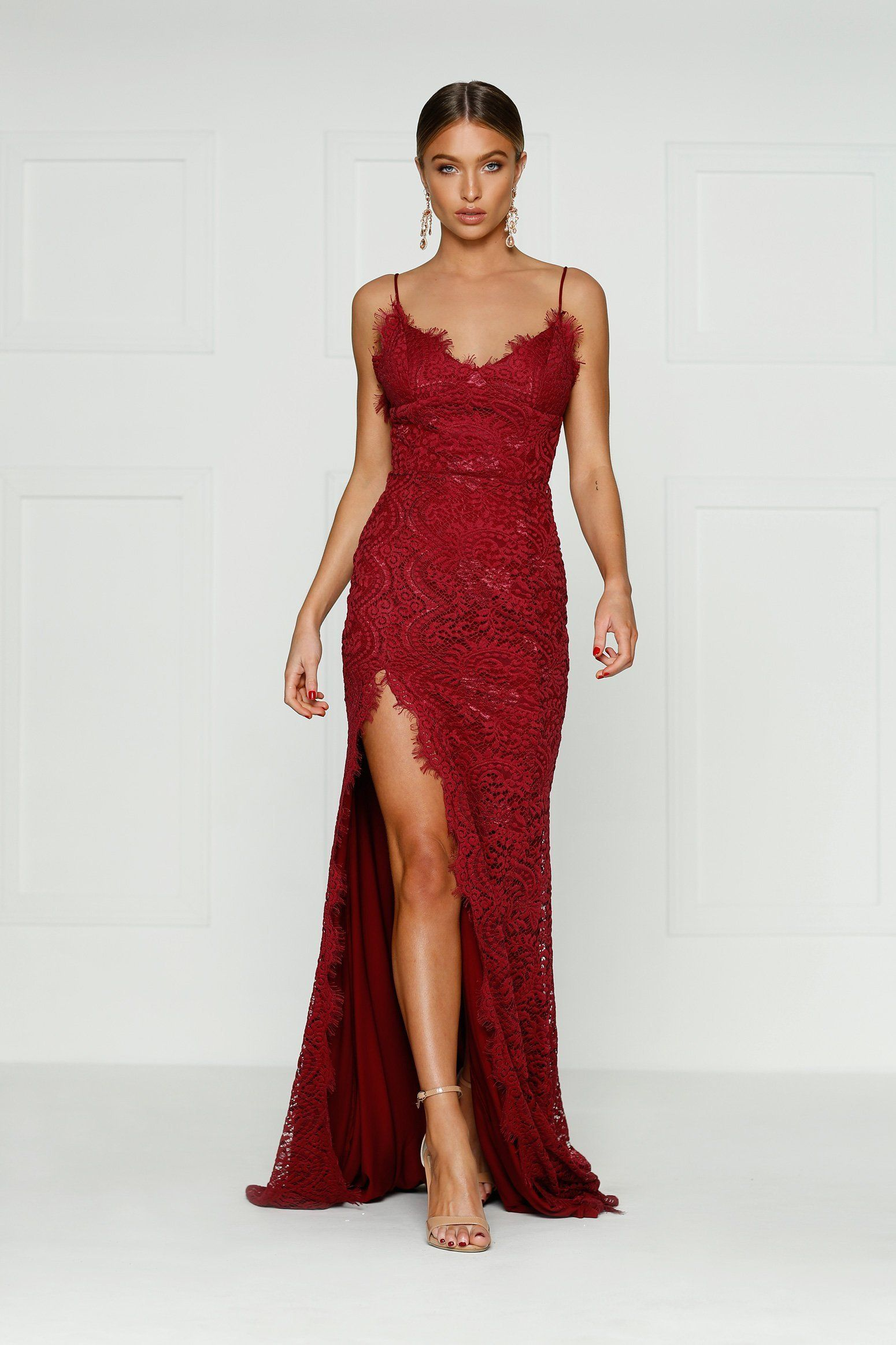 f60cdad9f9 Layali - Burgundy Lace Gown with Side Slit