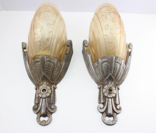 Antique Lincoln Slip Shade Wall Sconces Art Nouveau Deco Lamp Light Glass Vtg | eBay