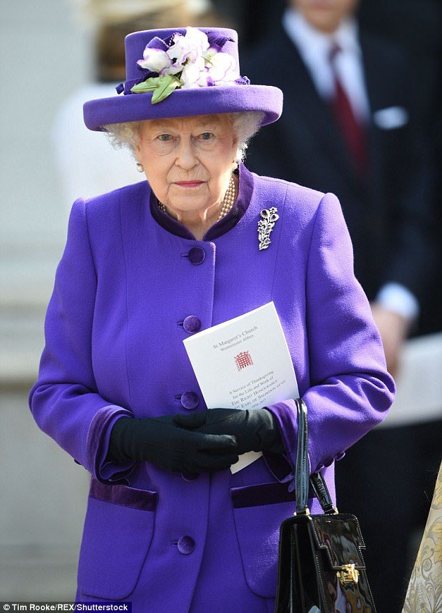 The Queen looked sombre as she left the abbey following the service just before midday, we...