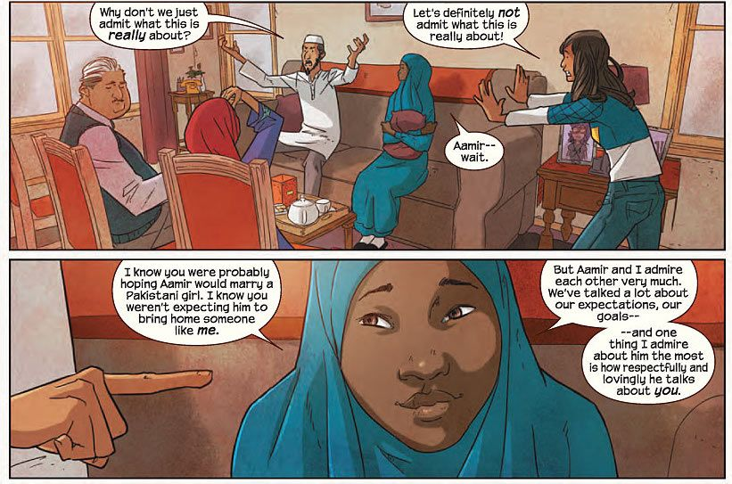 Tyesha the African American convert to Islam featured in the new Ms. Marvel  issue #4 | History for kids, Muslims in america, American muslims