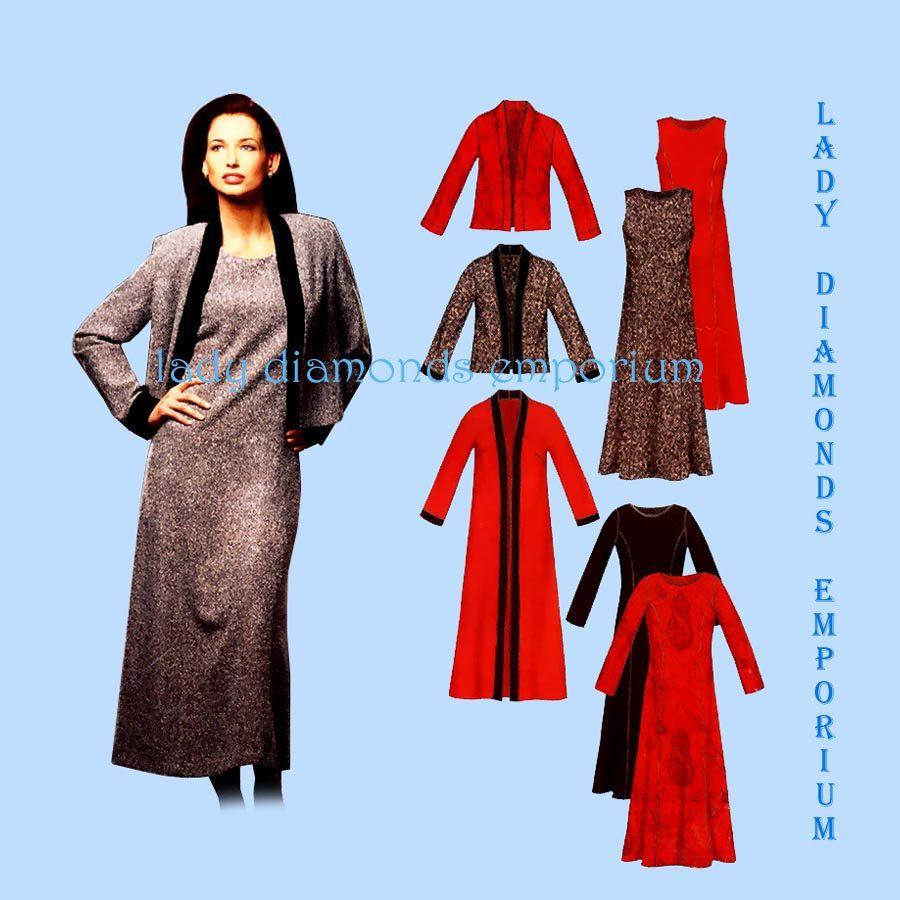 New Look 6305 Womens Princess Seam Semi-Fitted Dress Jacket Duster ...