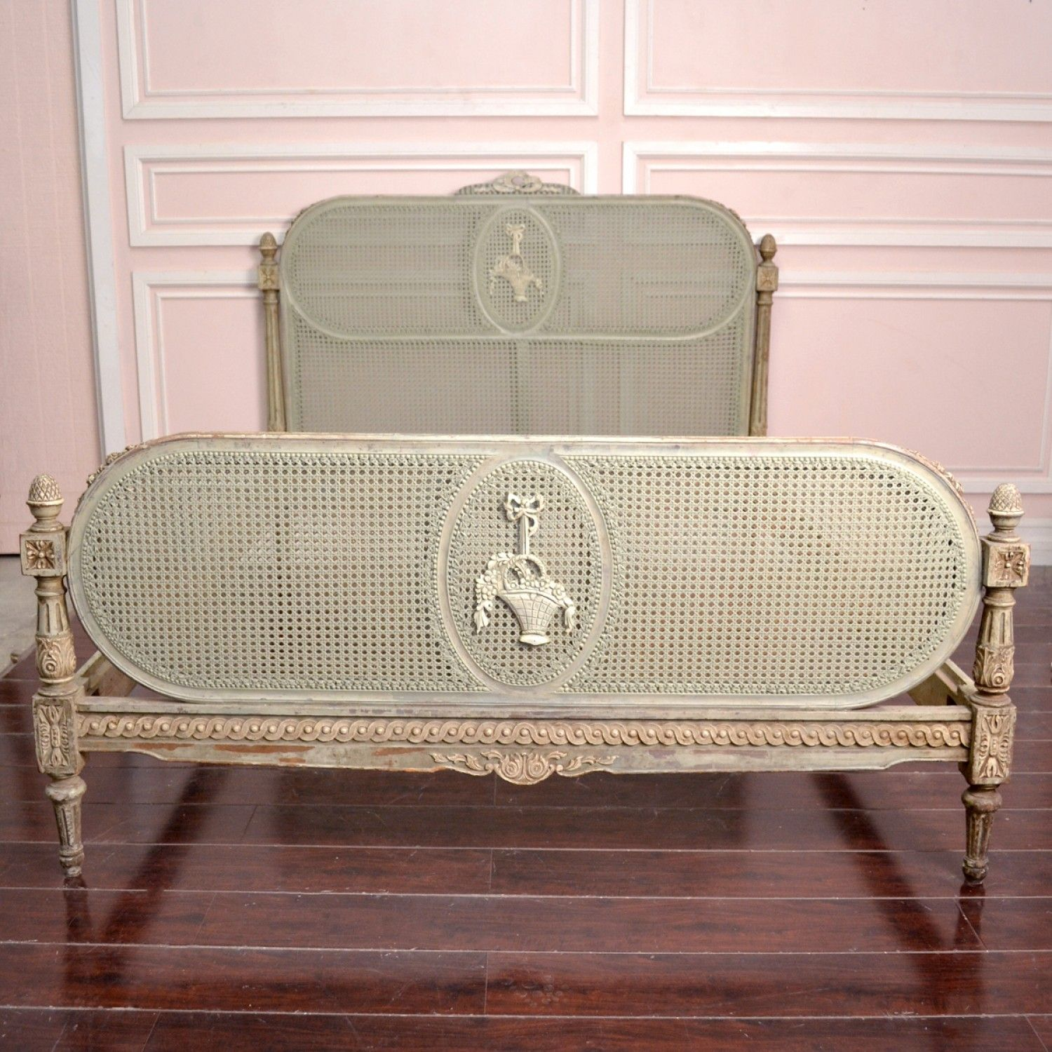Gorgeous Vintage Queen Cane Bed Frame In Sage Shabby Chic Queen