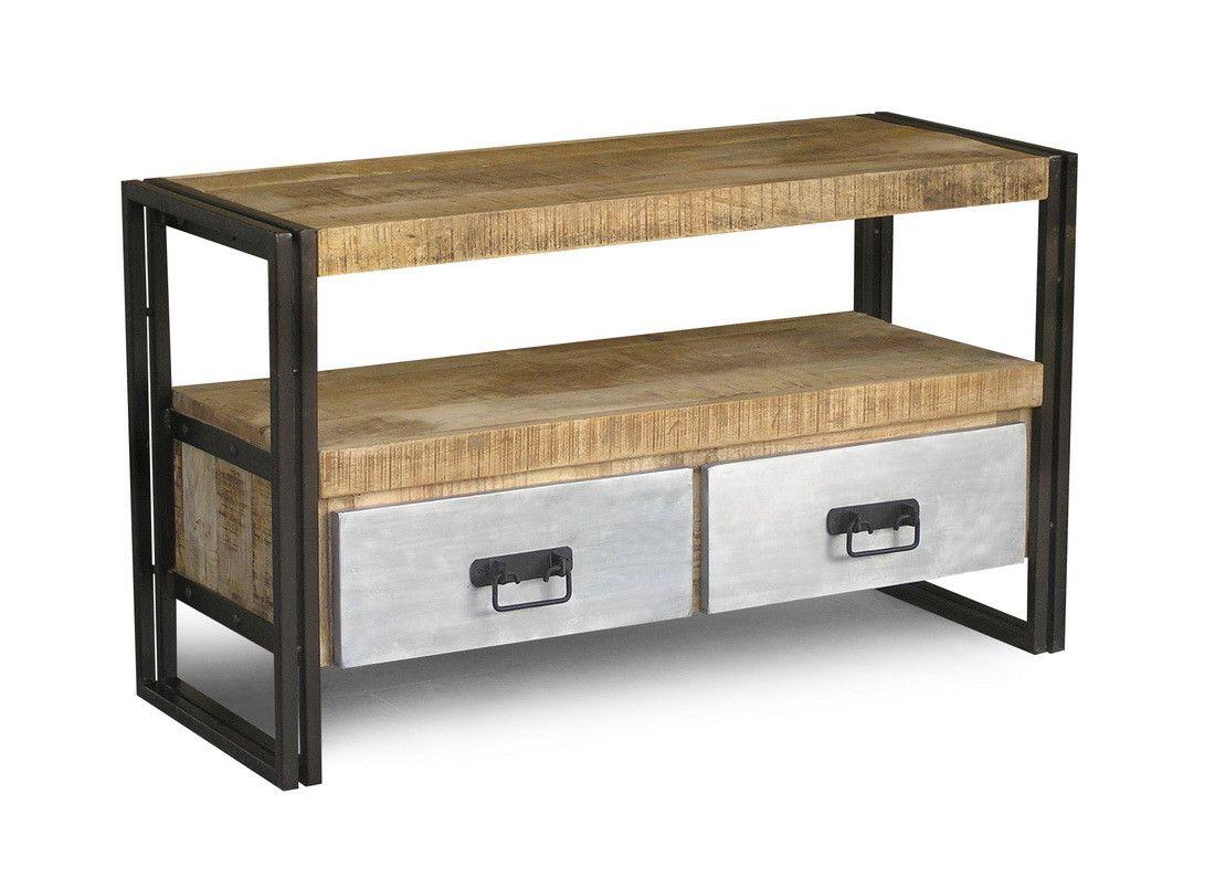 Handmade Reclaimed Metal 2 Drawer Wood Tv Cabinet Wayfair Cool  # Meuble Tv Universo Positivo
