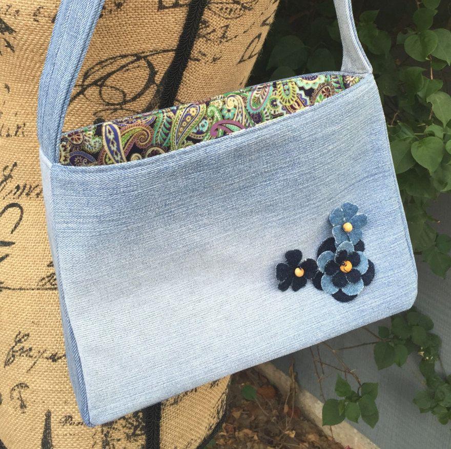 Denim Handbag by AllintheJeans on Etsy