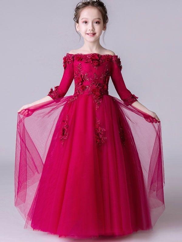 Red stereoflowers party slash neck long dress also latest kids wear frocks designer for girls rh pinterest