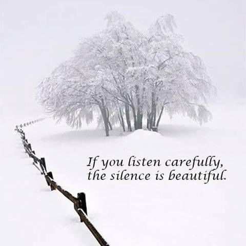 If you listen carefully the silence is beautiful.