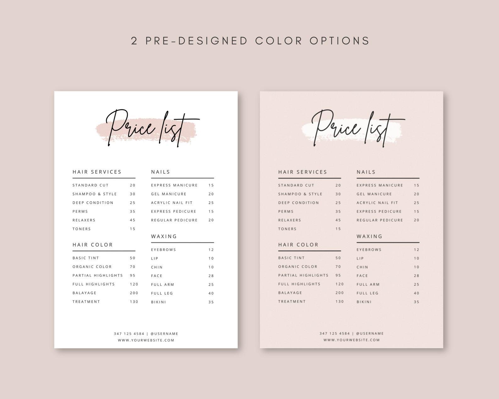 Editable Price List Template Business Menu Template Etsy In 2021 Price List Template Beauty Salon Price List Salon Price List