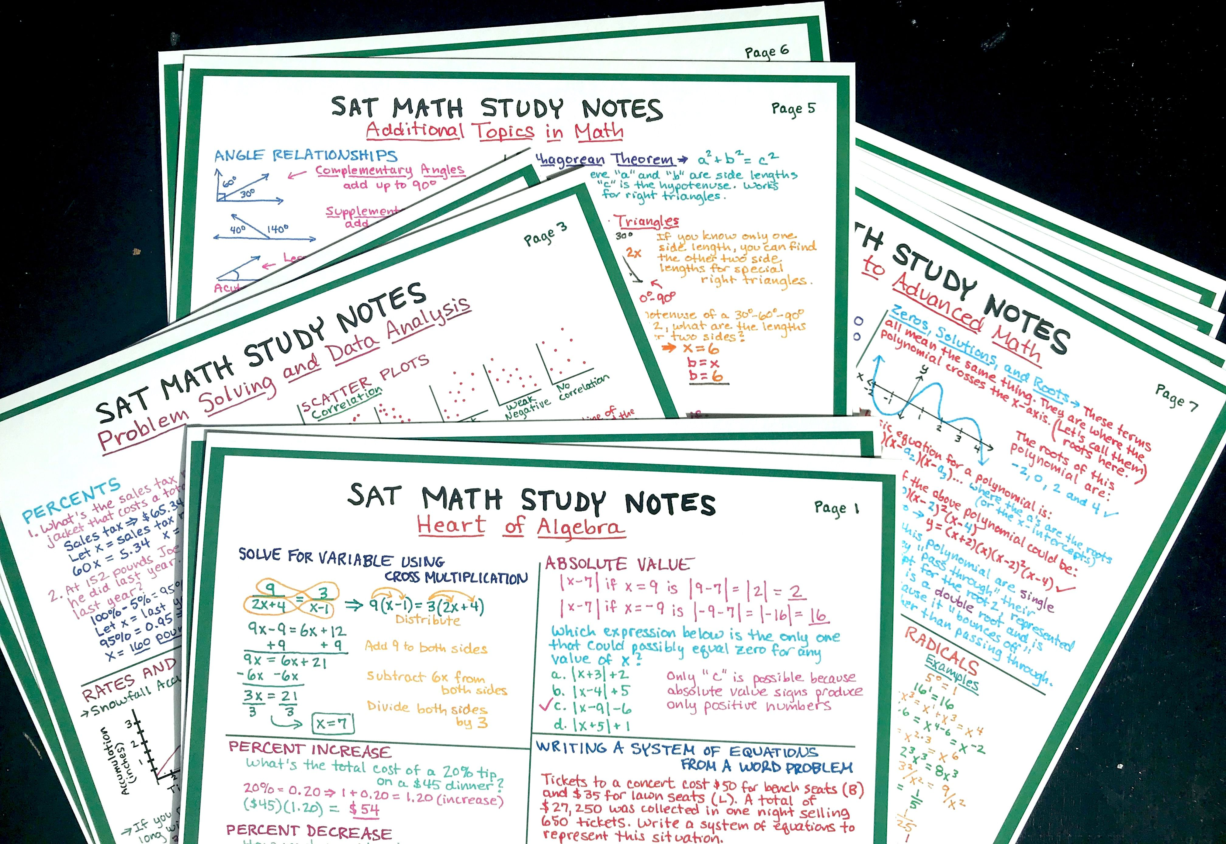Sat Math Study Notes 10 Pages Of Comprehensive Math Notes That Will Help You Ace The Sat These Study Notes Were Designed Studying Math Sat Math Study Notes