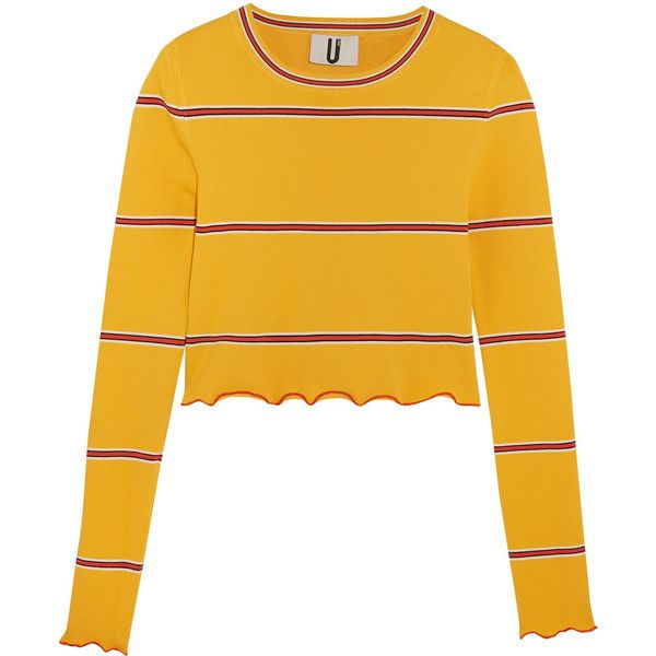 Topshop Unique Margot striped stretch-knit top (465 SEK) ❤ liked on Polyvore featuring tops, shirts, sweaters, blusas, yellow striped top, shirt top, yellow stripe shirt, stripe top and colorful tops