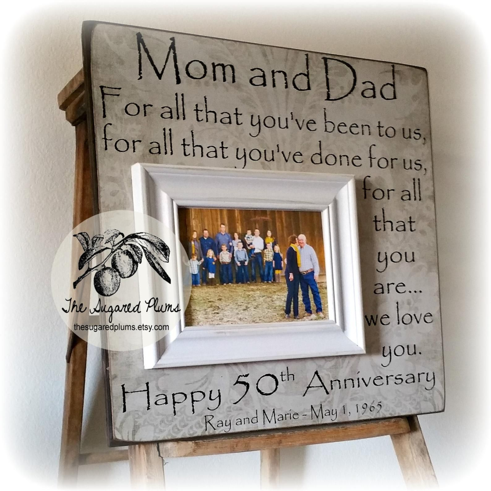 50th Anniversary Gifts for Parents Picture Frame, Golden Anniversary Gifts, 25th Anniversary Gift Ideas, Wedding Anniversary Party, 16x16