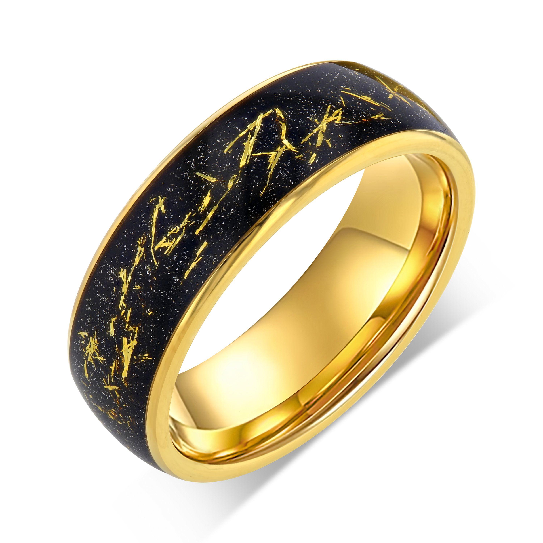 Gold Meteorite Ring Tungsten Carbide Ring Mens Wedding