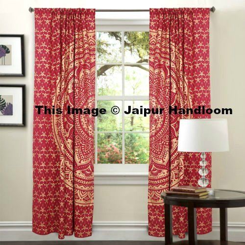 Golden Mandala Living Room Door Curtains Indian Cotton 2 Panel Window Hanging