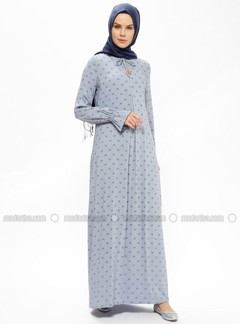 85cedd66e63 Gray Polka Dot Crew neck Unlined Dresses Ginezza in 2019