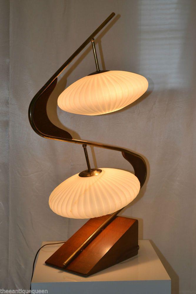Vintage Mid Century Modern Majestic Danish Teak Z Lamp Glass