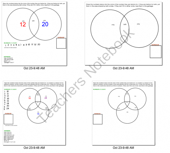Smartboard Lesson On Teaching Factors With Venn Diagrams From