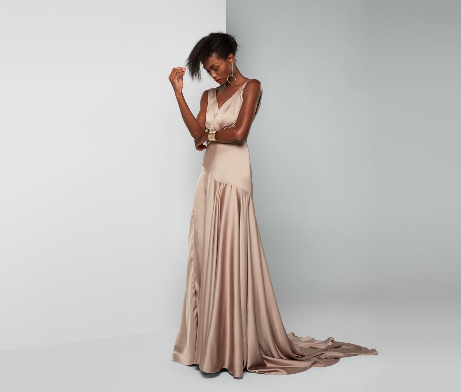 Dark Tan Escala Dress | Fame & Partners USA | Clothes and Home Decor ...