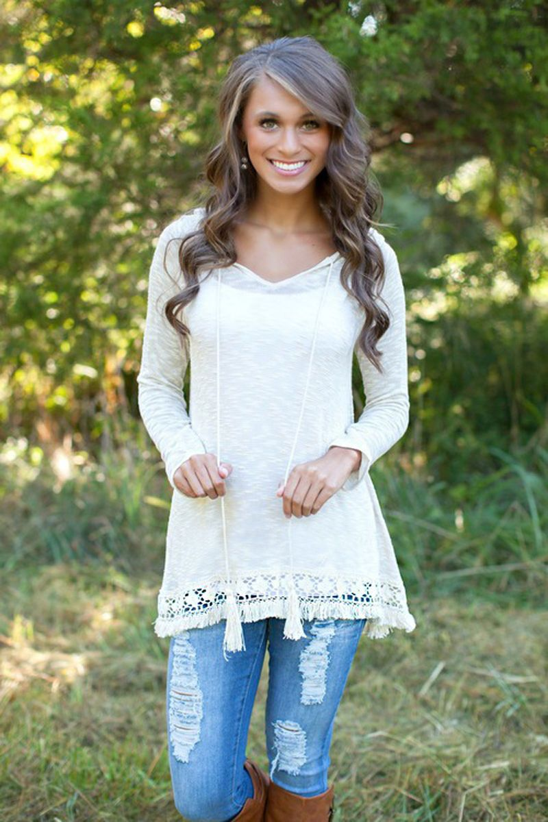 Click to Buy ucuc New Fashion Womens Ladies Long Sleeve Lace Tops