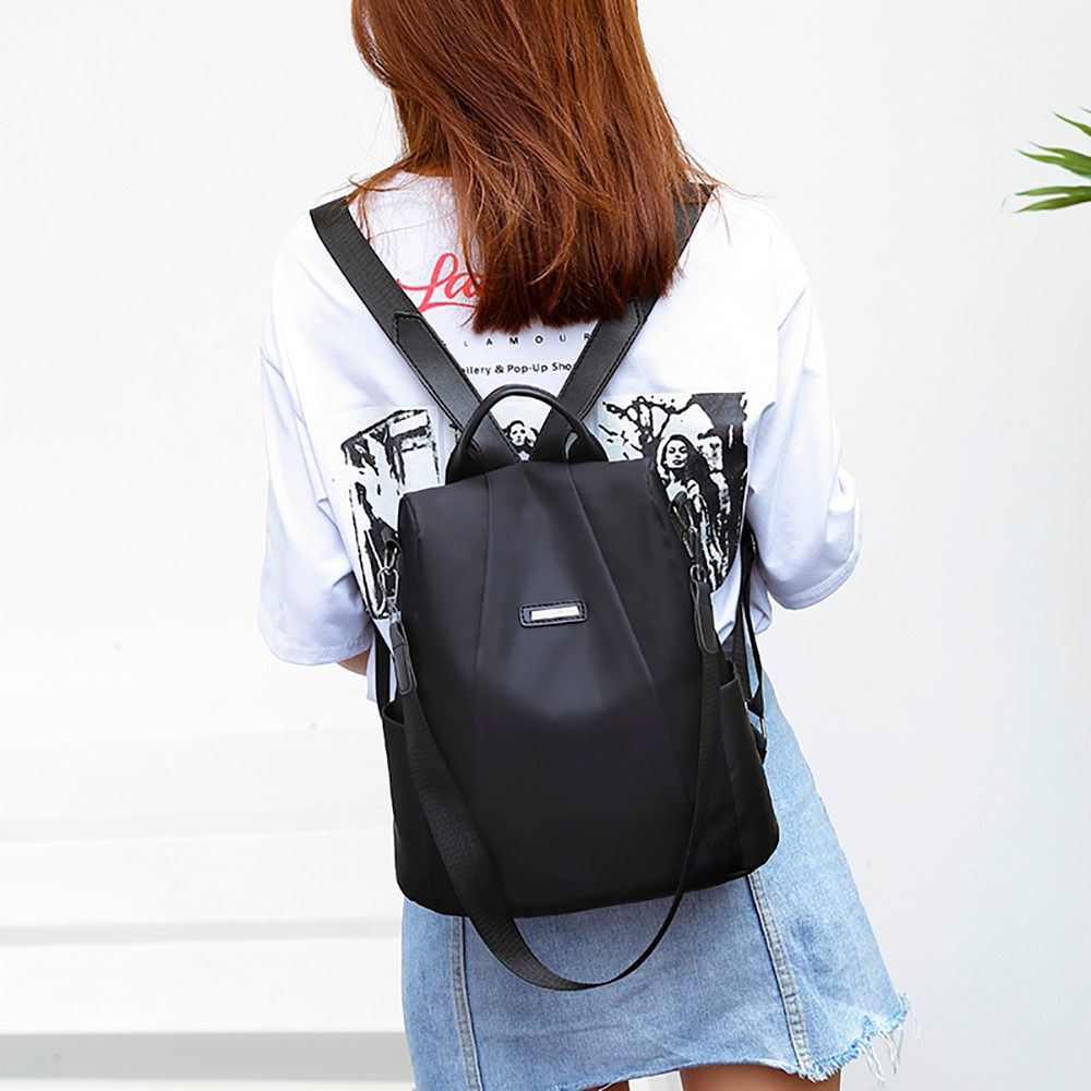 Waterproof Womens Anti-Theft Backpack Elegant Oxford Cloth Shoulder Travel Bag